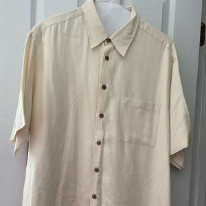 Cream Button Front Silk/Cotton Button Front Shirt